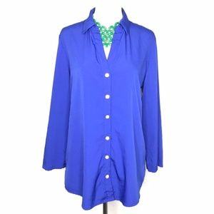 Chico's Blue 3/4 Sleeve V-Neck Button Down Shirt